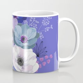 Anemones & Gardenia Blue bouquet Coffee Mug