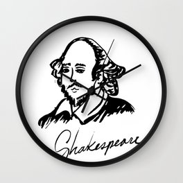 Shakespeare Author Portrait Original Ink Drawing Wall Clock
