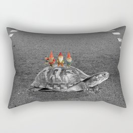 gnomes on a turtle Rectangular Pillow