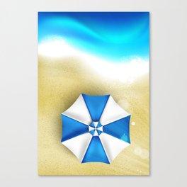 Couple of umbrellas on the beach, graphic art Canvas Print