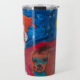 ~ Superhero Boy and His Loyal Sidekick ~ Redhead & Ruby King Charles Cavalier Spaniel Travel Mug