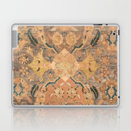 Persian Motif III // 17th Century Ornate Rose Gold Silver Royal Blue Yellow Flowery Accent Rug Patte Laptop & iPad Skin