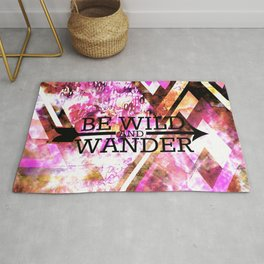 BE WILD AND WANDER Bold Colorful Wanderlust Hipster Explore Nature Typography Abstract Art Painting Rug