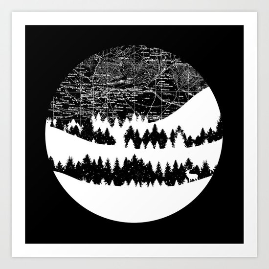 Map Silhouette Circle Art Print