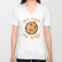 cookie V-neck T-shirts featuring Kinky Cookie by Artistic Dyslexia