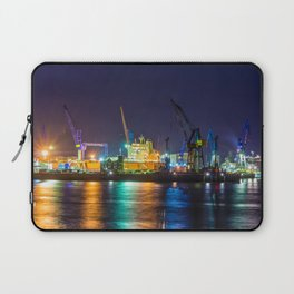 Port of Hamburg at night with colorful illumination Laptop Sleeve