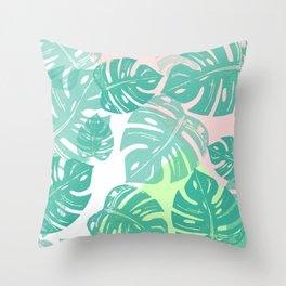 Linocut Monstera Tricolori Throw Pillow