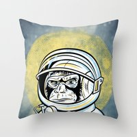 ape Throw Pillows featuring Space Ape by Fanboy30