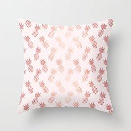 Rose Gold Pineapple Pattern Throw Pillow