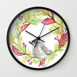 Bird in Christmas Wreath Wall Clock