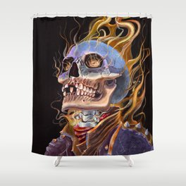 My Ghost Rider - Spirit of Vengeance Portrait: in Memory of Stan Lee Shower Curtain