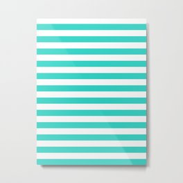 Narrow Horizontal Stripes - White and Turquoise Metal Print