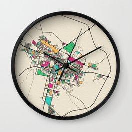 Colorful City Maps: Astana, Kazakhstan Wall Clock