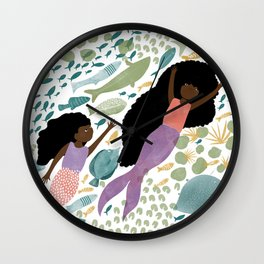 Mermaids and Fish in the Ocean Wall Clock