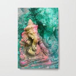 Ganesha yellow Metal Print