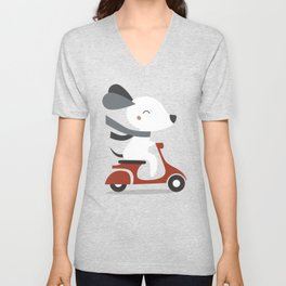 Kawaii Cute Dog Riding A Scooter Unisex V-Neck