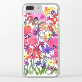 Little Pink Poppies Clear iPhone Case