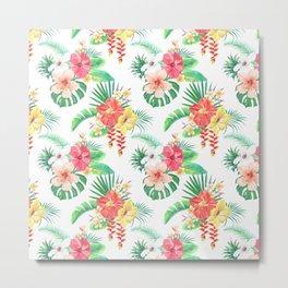 tropical watercolor floral pattern Metal Print