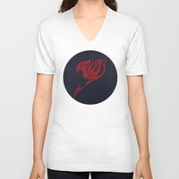 fairy tail V-neck T-shirts featuring Fairy Tail Segmented Logo Natsu circle by JoshBeck