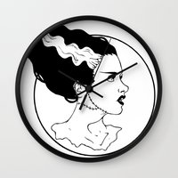 bride Wall Clocks featuring Bride by Albino Bunny