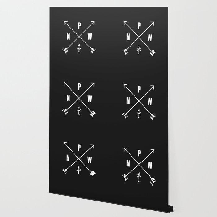 PNW Pacific Northwest Compass - White on Black Minimal Wallpaper