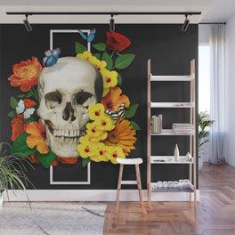 "Vibrant Flowery Skull - 1st. Of ""Flowery Bones"" Series Wall Mural"