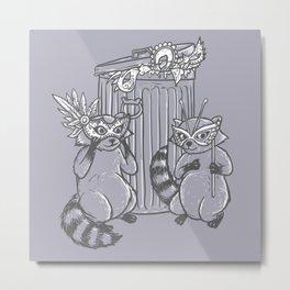 Fancy Raccoons Metal Print