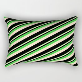Lime Green, Bisque & Black Colored Lines Pattern Rectangular Pillow