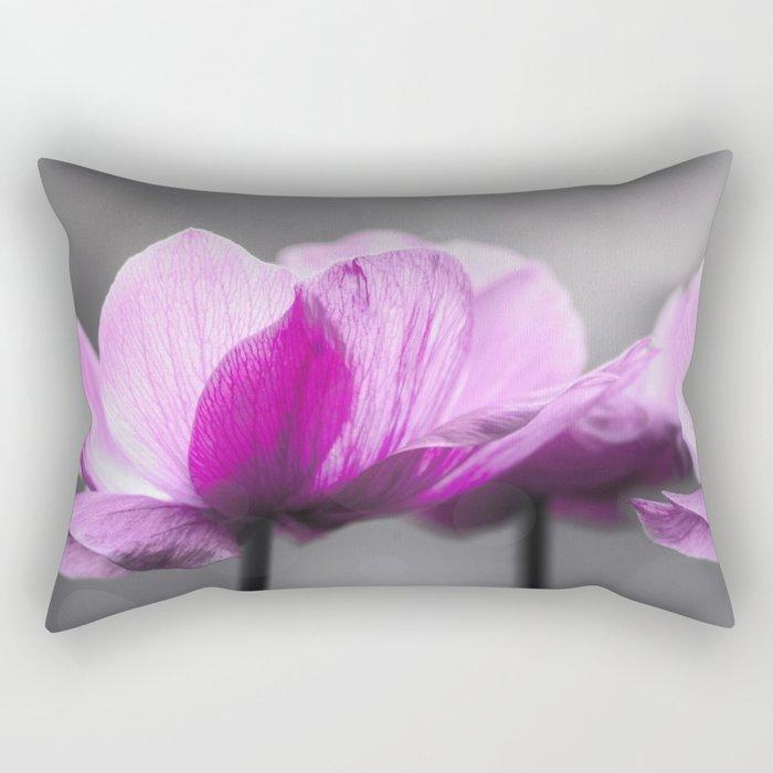 pink Anemone flowers on grey Rectangular Pillow