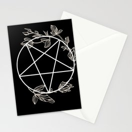 Pentagram with Plant Adornments - on black Stationery Cards