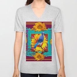 Decorative Ornate  Burgundy-Blue Jay Sunflowers Unisex V-Neck