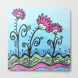 Three Spring Flowers - Blue Metal Print