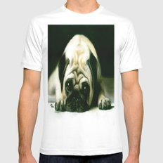 PUG POWER OUTAGE White Mens Fitted Tee MEDIUM