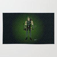 green arrow Area & Throw Rugs featuring Green Arrow by The Vector Studio