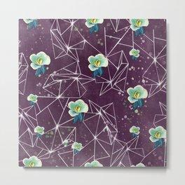 Purple floral geometric pattern Metal Print
