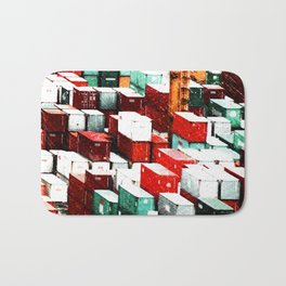 Mint Red Shipping Containers  Bath Mat