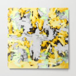 splash painting texture abstract background in yellow black green Metal Print