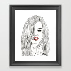 Georgia with Red Lips Framed Art Print