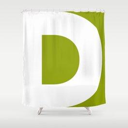 Sans Serif D. White on Green. Shower Curtain