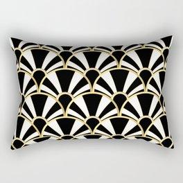 Black, White and Gold Classic Art Deco Fan Pattern Rectangular Pillow