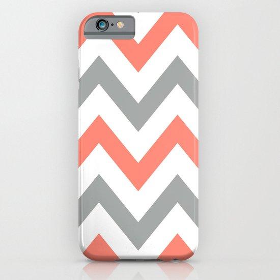 Coral & Gray Chevron iPhone & iPod Case
