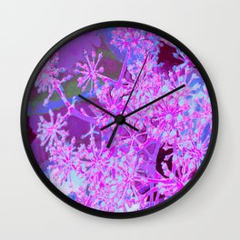 Cool Abstract Retro Nature in Hot Pink and Purple Wall Clock