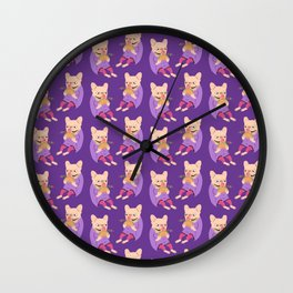 Frenchie Loves Taco Wall Clock