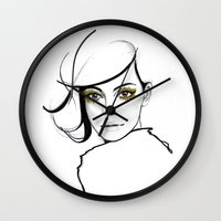 golden girls Wall Clocks featuring MY GIRLS . GOLDEN EYE LASHES by Camila Giacoia