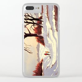 Sledding At Christmas Time Clear iPhone Case