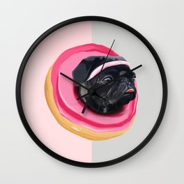 Pug Donut Cardio Wall Clock