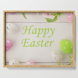 Happy Easter Farmhouse Style Eggs and Whitewashed Boards with Flowers Serving Tray
