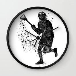 Boy Lacrosse Black Watercolor Sports Art Wall Clock