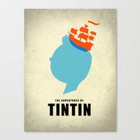 tintin Canvas Prints featuring THE ADVENTURES OF TINTIN by Calvin Wu