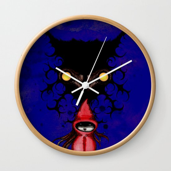 Little Red Riding Hood Watercolor/Pen&ink/Acrylic Wall Clock